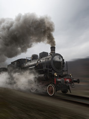 Fototapeta na wymiar Vintage black steam train