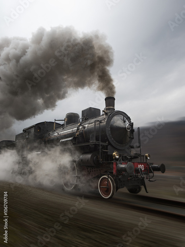 Vintage black steam train Fotobehang