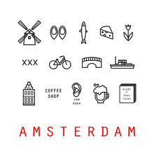 Amsterdam Icons. Holland. Isolated.