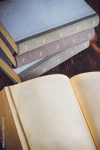 Photo Stands Stairs Open book in vintage light tone color