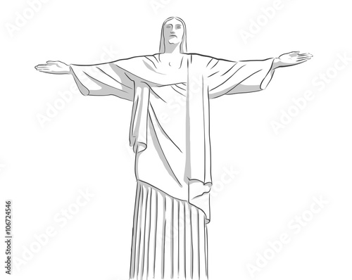 christ the Redeemer statue Outline Sketch Canvas