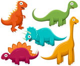 Fototapeta Dinusie - Vector illustration of a variety of brightly-colored happy cartoon dinosaurs.