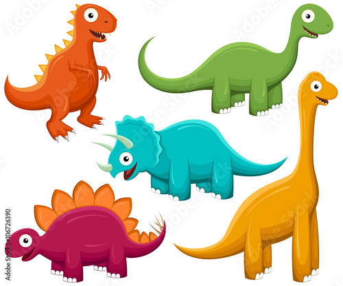Photo  Vector illustration of a variety of brightly-colored happy cartoon dinosaurs