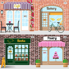 Set Of Vector Detailed Design Bakery, Cafe, Bookshop And Pastry Shop. Building Facade Of Brick. Vector Illustration Eps 10.