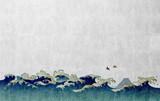 和風背景素材 大波と渡り鳥 - 106746564