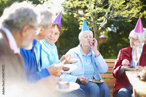 Senior friends on a birthday garden party