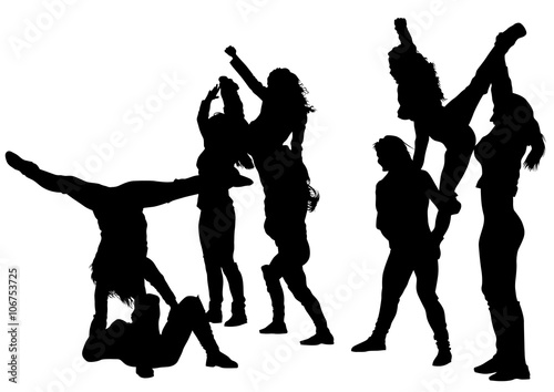 Silhouettes sports girls on a white background