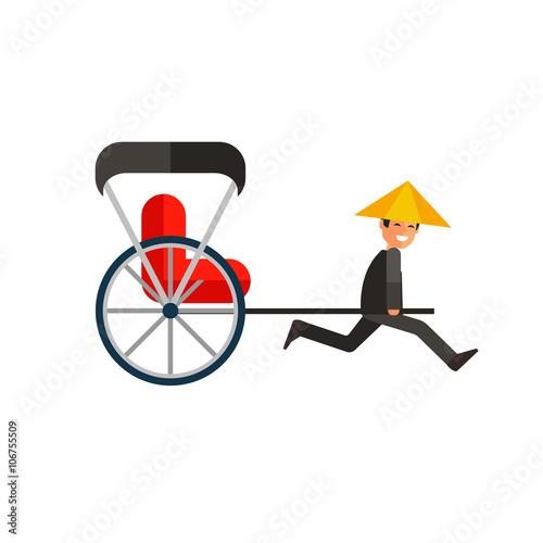 Valokuva  Japanese rickshaw flat icon