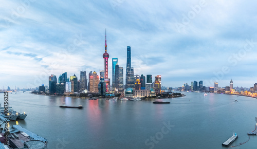 Photo Stands Shanghai panoramic shanghai skyline in nightfall