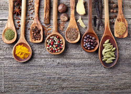 Canvas Prints Spices Spices on a wooden board