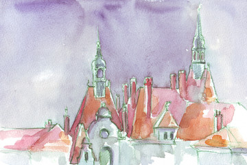 houses city in Europe watercolor illustration