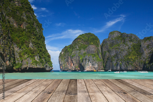 Perspective of wood terrace against beautiful seascape #106758906
