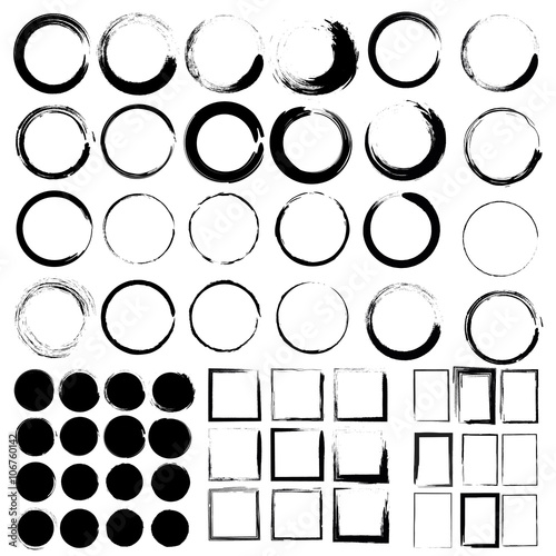 Photo Vector set of grunge circle brush and Grunge Black Frames