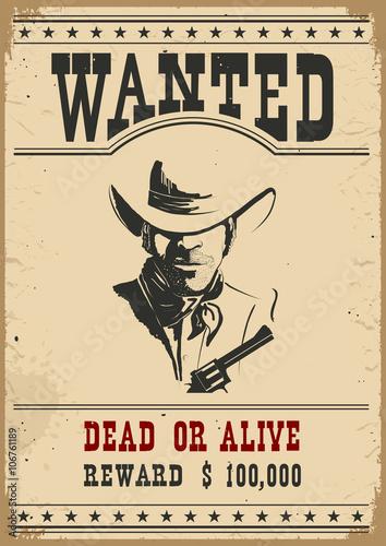 Wanted poster.Vector zachodniej ilustracji