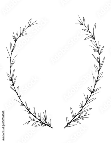 Fotografie, Obraz  Hand drawn decorative laurel wreath