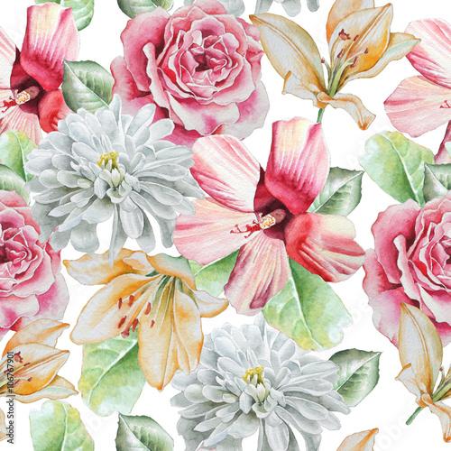 bezszwowy-wzor-z-kwiatami-roza-lilia-chryzantema-akwarela
