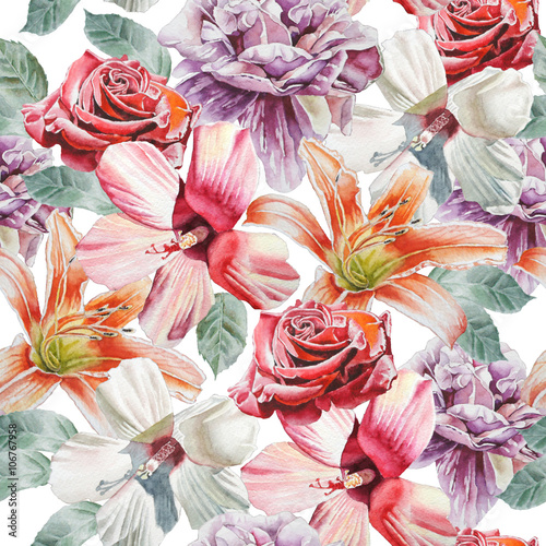 Seamless pattern with flowers. Rose. lily. Watercolor.