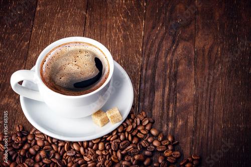 Deurstickers koffiebar Cup coffee beans wooden