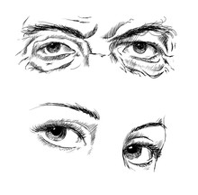 Hand Drawing Eyes On A White B...