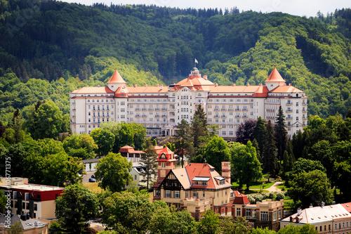 Fotografie, Obraz  street view in Karlovy Vary, hotels in Karlovy Vary, Carlsbad, C