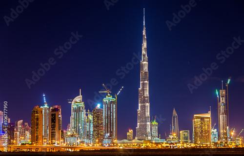 Fotografie, Obraz  Night view of Dubai Downtown