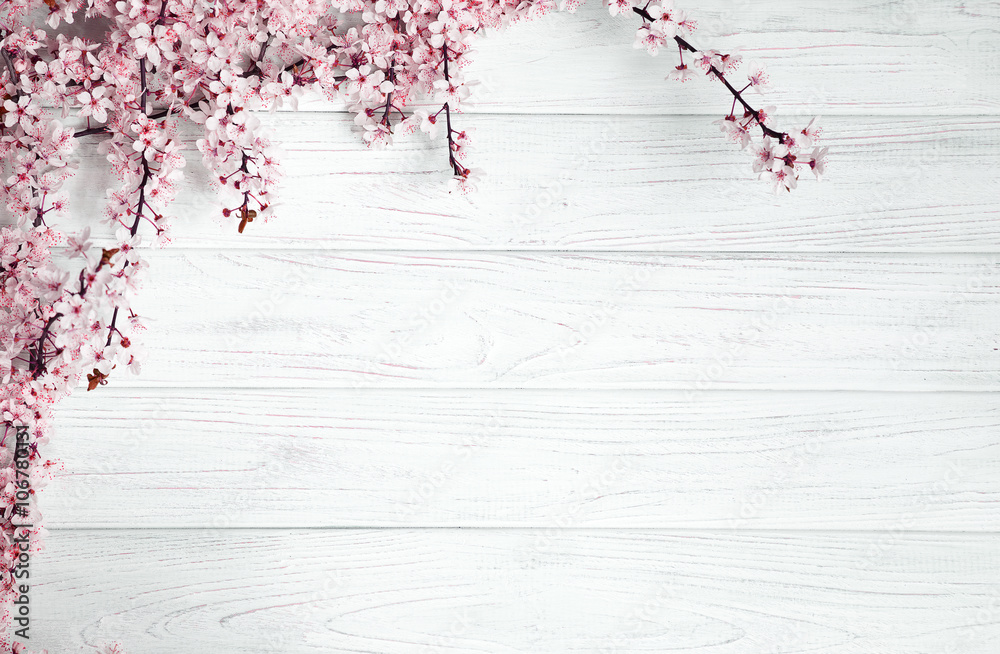 Fototapety, obrazy: spring background. fruit flowers on wooden table