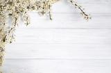 Fototapeta Kwiaty - spring background. fruit flowers on wooden table