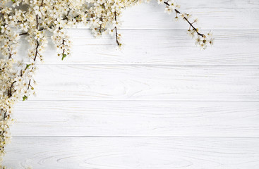 Fototapetaspring background. fruit flowers on wooden table