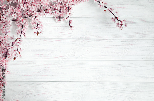 Garden Poster Floral spring background. fruit flowers on wooden table
