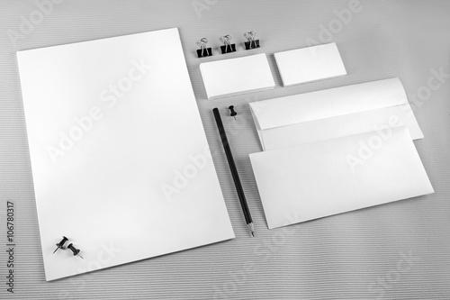 Fototapeta Blank stationery set with soft shadows on gray background.. ID template. Mockup for branding identity for designers. obraz