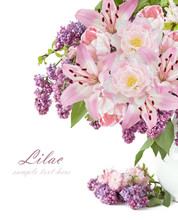 Lilac, Lily And Tulip Flower Bunch Isolated On White Background