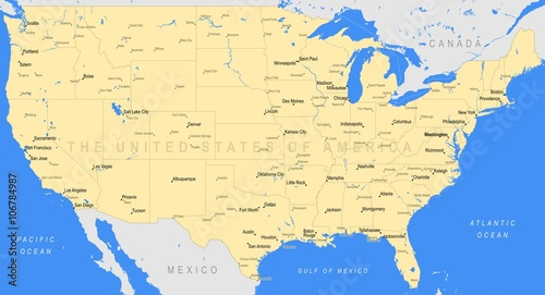 A Large Map Of The United States.Detailed United States Of America Map Vector A Large Color Map Of