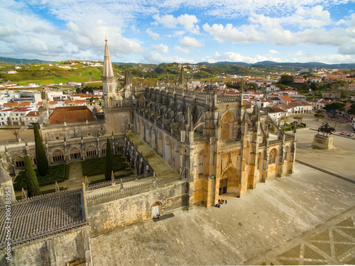 Aerial view of The Monastery of Batalha - originally, and officially known, as t Canvas Print