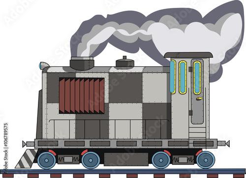 In de dag Cartoon draw Рисунок поезда на белом фоне