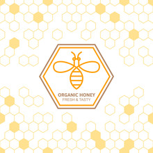 Outline Bee Vector Symbol And Seamless Background With Honeycombs. Organic Honey Linear Logo, Label, Tags Design Elements. Concept For Honey Package, Banner, Wrapping. Abstract Food Background.