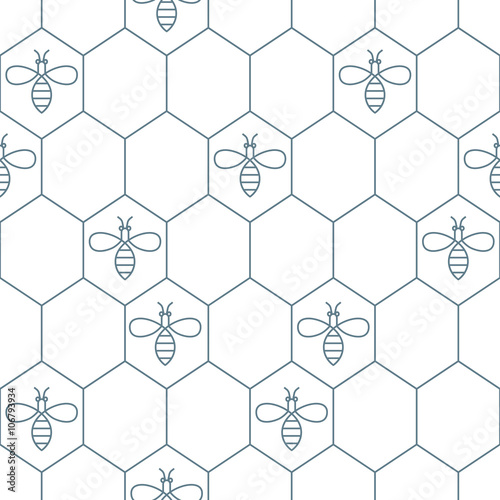 Cotton fabric Vector seamless pattern with outline bees and honeycombs. Simple black and white honey background. Concept for honey package, label, wrapping.