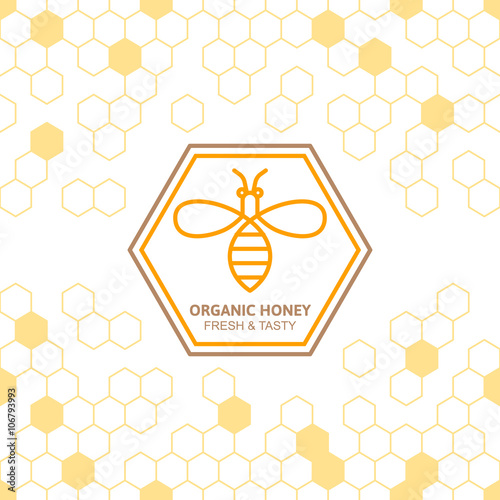 Fotografija Outline bee vector symbol and seamless background with honeycombs