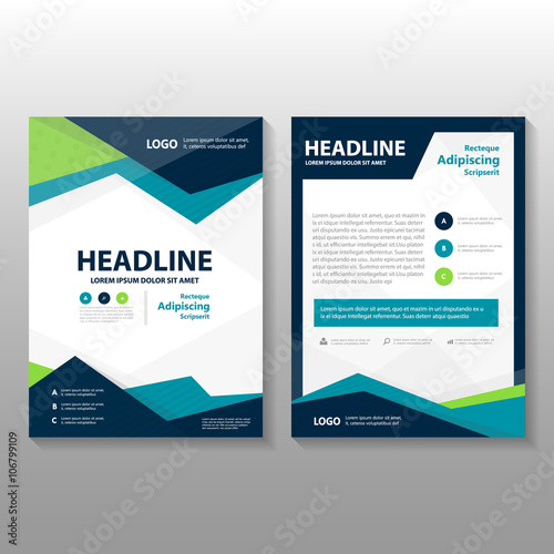 Blue Vector Annual Report Leaflet Brochure Flyer Template Design