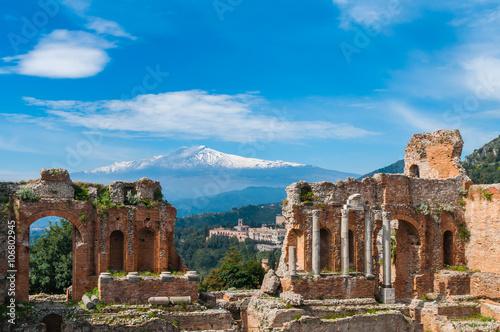 Fotografie, Obraz  Griechisch-römisches Theater in Taormina; Sizilien; Italien