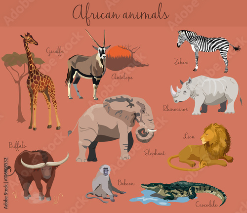 Photo Wild african animals set with nature elements.