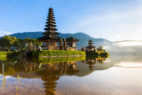 Aluminium Prints Indonesia Pura Ulun Danu Bratan at sunrise, famous temple on the lake, Bedugul, Bali, Indonesia.