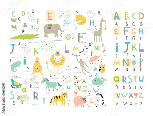 fototapeta na ścianę Cute zoo alphabet with funny animals in vector . Letters.