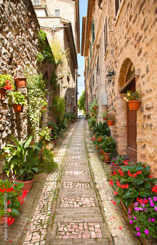 Beautiful street in Spello. Italy Canvas Print