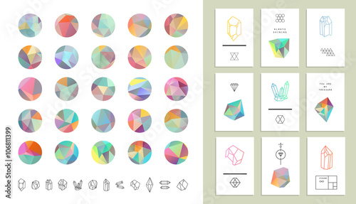 Fotografie, Obraz  Set of colored crystal circles in polygon style