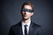 canvas print picture - Blindfolded Businessman