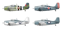 F4f Grumman Wildcat . Illustration In Four Versions Of The Famous Military Ww2 Plane