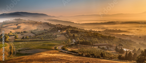 Fotografie, Obraz  Morning Fog over Tuscan Country, Italy