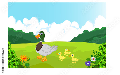 Canvas Prints River, lake Illustration of a duck and her ducklings at the riverbank