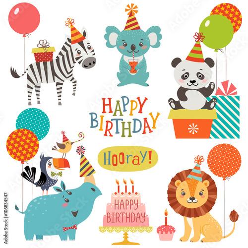 Deurstickers Uilen cartoon Cute animals birthday wishes