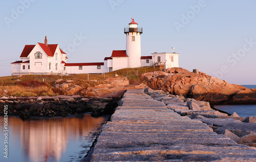 Fényképezés  Eastern Point Lighthouse at Gloucester at Sunset, Massachusetts, USA